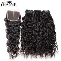 HANNE Brazilian Hair Wave Bundles With Closure 4PCS Water Wave Human Hair 3 Bundles With Lace Closure 100% Unprocessed Remy Hair