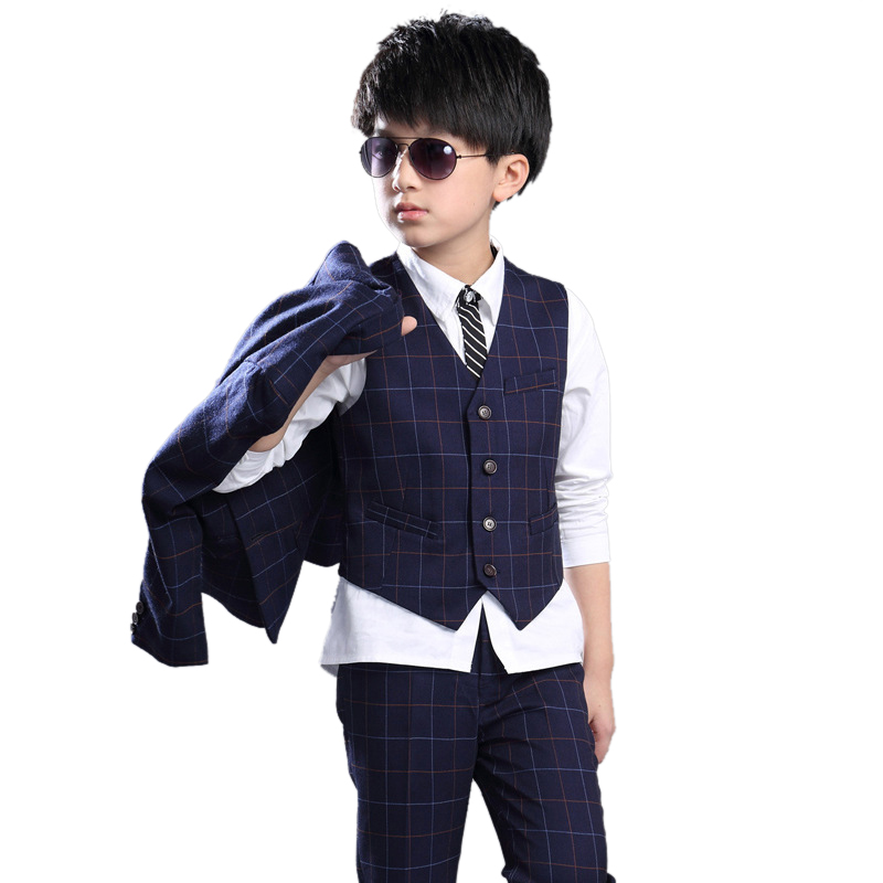 3 PCS boy's jacket children leisure suit for weddings coat+vest+pant suit for boy 9 12 age kids clothing set fall plaid clothes yellow dino boy clothes set roar children t shirt plaid pant suit kids outfit 100% cotton tops panties 2 3 4 5 6 7 year clothing