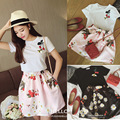 new summer cloth set sweet honeybee cherry sticker logo T-shirt fashion printed brown skirts two piece suit