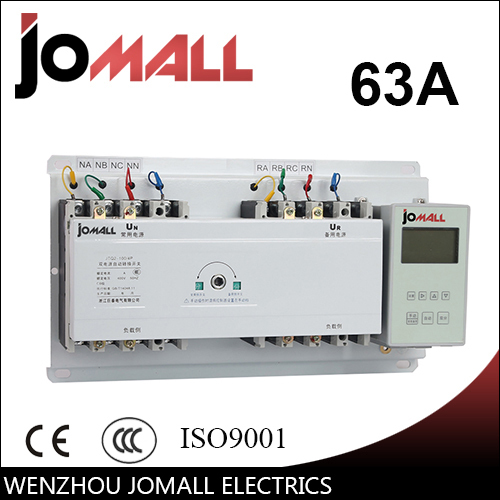 Jomall 63A 4 poles 3 Phase automatic transfer switch ats with English controller цена