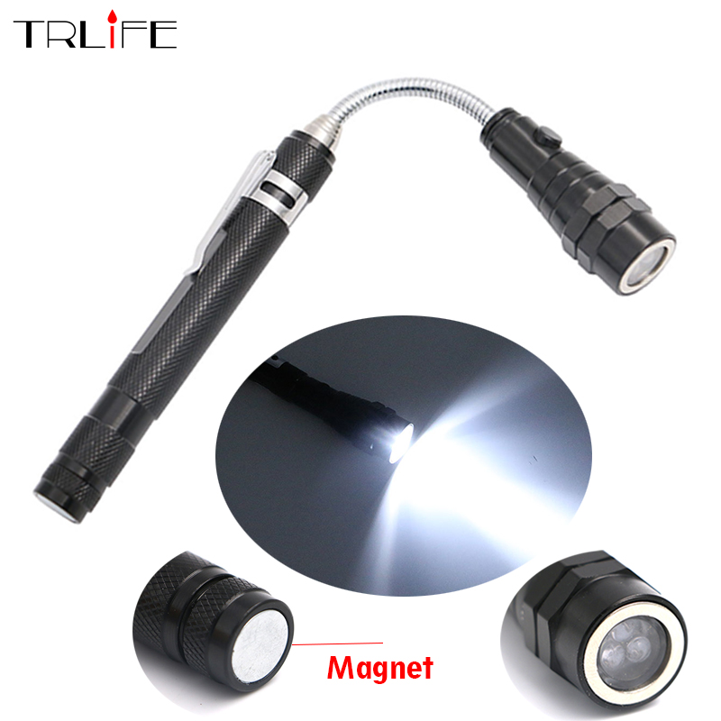 Telescopic 360 Degree Flexible LED Flashlight Torch Camping Tactical Pick Up Tool 3LED Lamp Lanterna included 4xLR44 batteries new 7 in 1 multifunctional tool led flashlight camping hiking tool tool screwdriver daily tool torch lamp charging use 18650