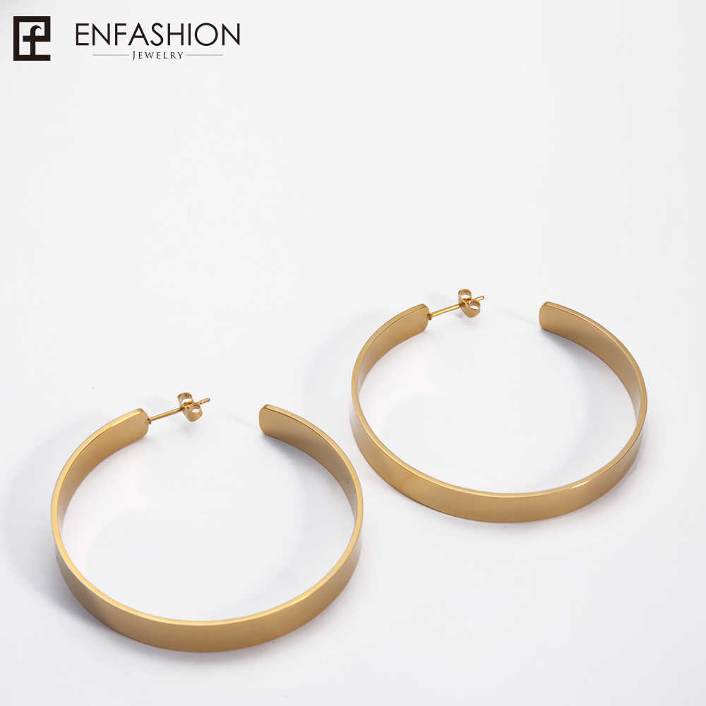 Enfashion Vintage Big Hoop Earrings Matte Gold color Earings Stainless Steel Circle Earrings For Women Jewelry Wholesale 171026