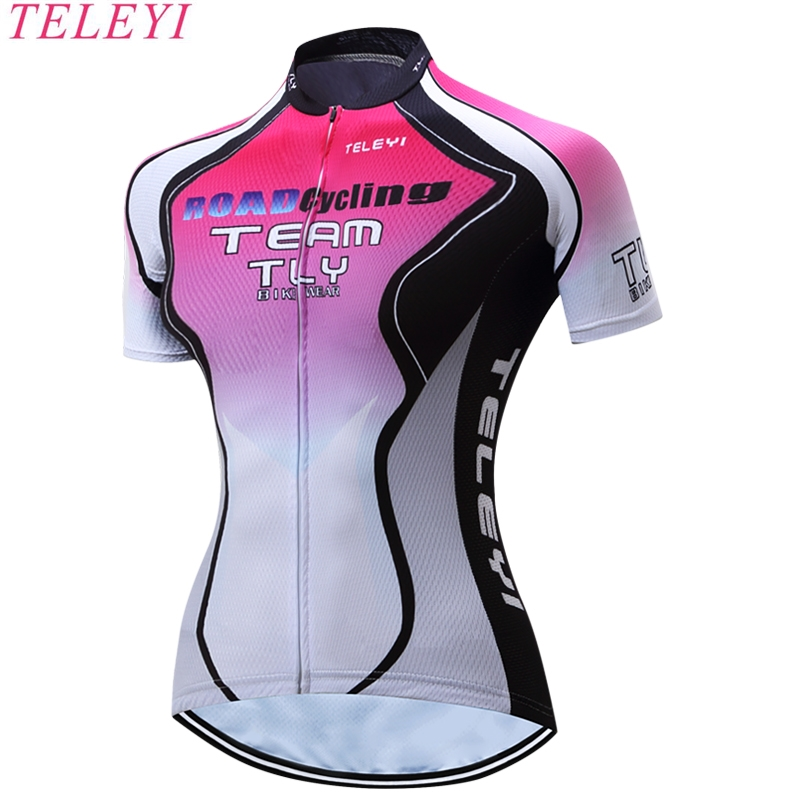 TELEYI New Womens Cycling Jersey Short Sleeve Bike Shirt For Road Bicycle Clothing Comfortable Hot Sale