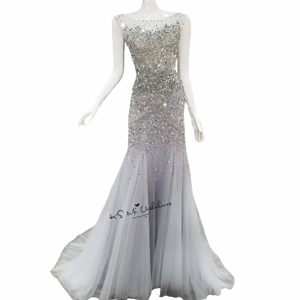 Silver Gray Sparky Luxury Evening Dresses Crystals Beads Women Long Mermaid Prom Party Dress V Back Custom Made Abendkleider