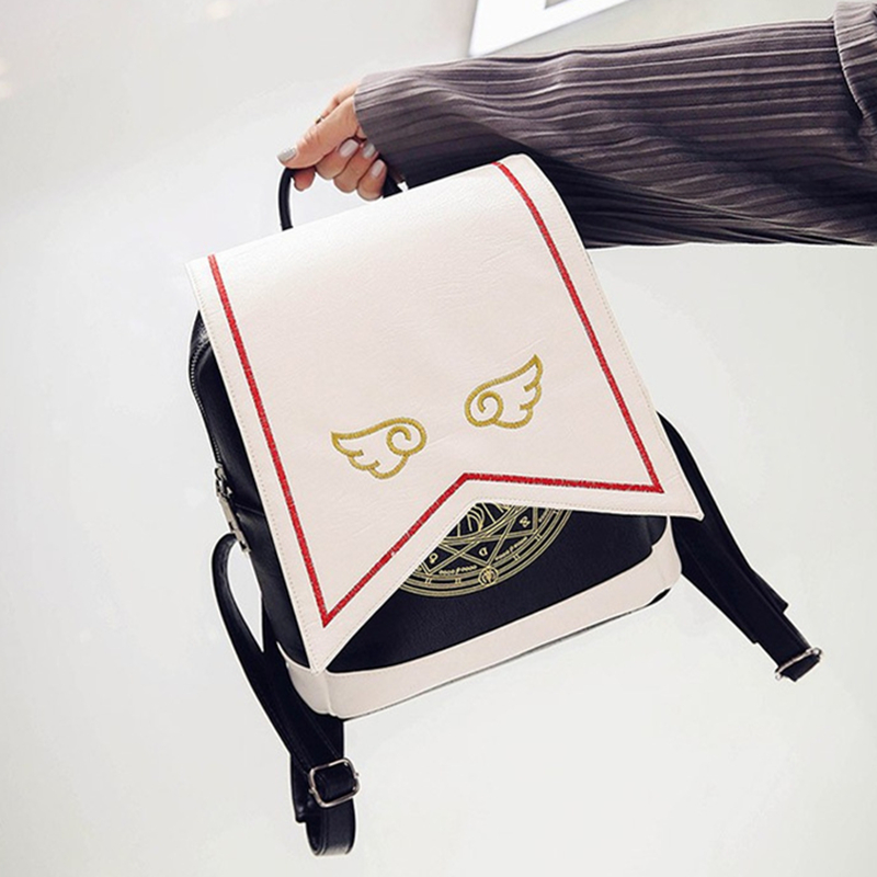 2017 Anime Card Captor SAKURA Kawaii Mini Backpack Cardcaptor Sakura Printing School Bags Lolita Women Backpack With Angel Wings japanese comic card captor sakura wings schoold backpack magical card girl sakura cosplay backpack sakura wings bag