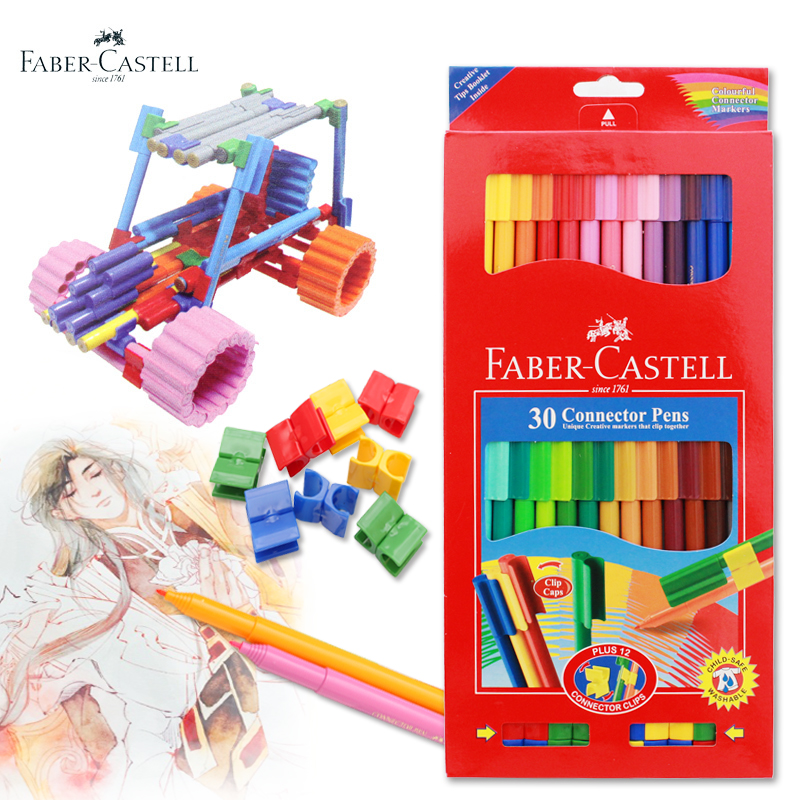Faber Castell 30Colors Cute Creative Colorful Crayons Connector Watercolor Pen Set For Children Drawing Art Stationery Supplies anne klein 2246 crhy