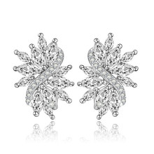 Hot sale New Design Marquise Cut AAA+ Clear Cubic Zircon Bridal Stud Women Earrings Wedding Jewelry White Gold Plated