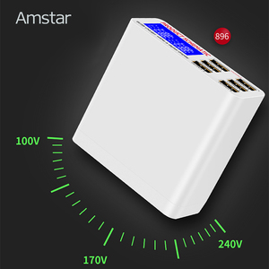 Image 5 - Amstar 6 porte 40W caricatore USB ricarica rapida 3.0 Dock Station di ricarica USB veloce con Display a LED per iPhone XS Samsung S9 Xiaomi