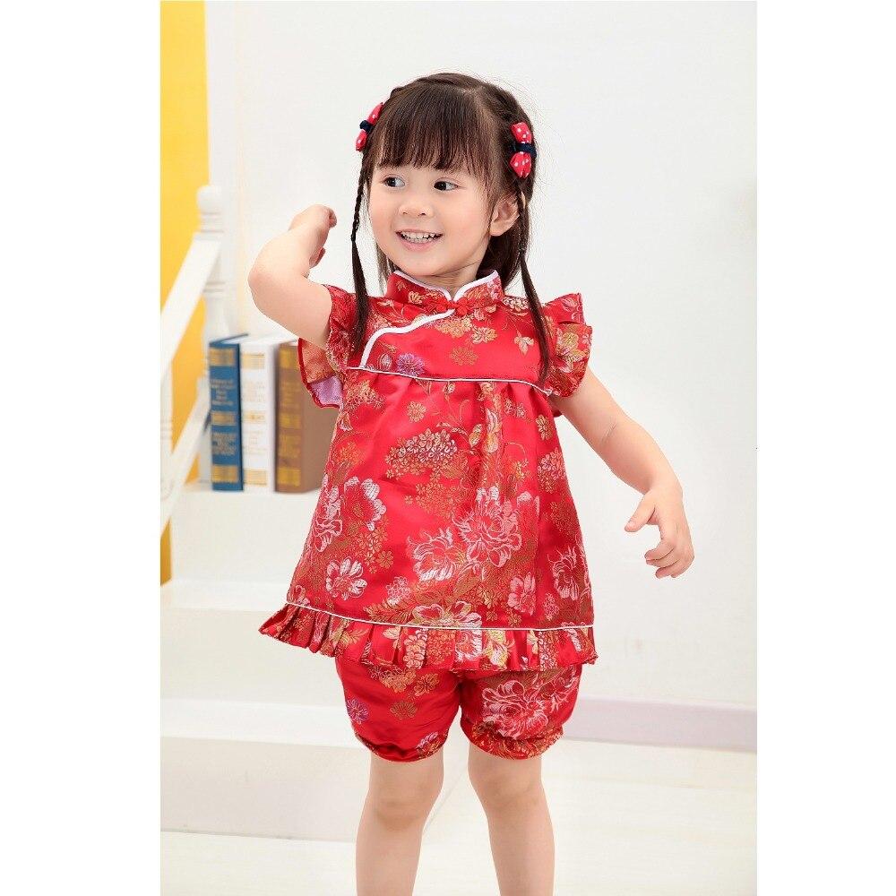 2019 Nieuwe Zomer Bloemen Qipao Kinderen Sets Nieuwe Jaar Chinese Baby Meisjes Jurken Korte Broek Cheongsam Outfits