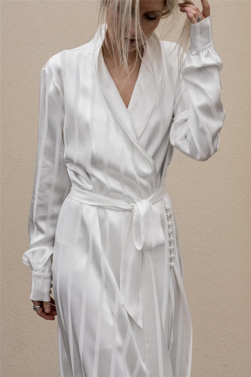 Rétro Nouvelles De Qualité Mode Sangle Taille cou Enveloppé Robe Poitrine Slim Ethnique V Automne Sauvage Haute Blanc Femmes wEBzzI