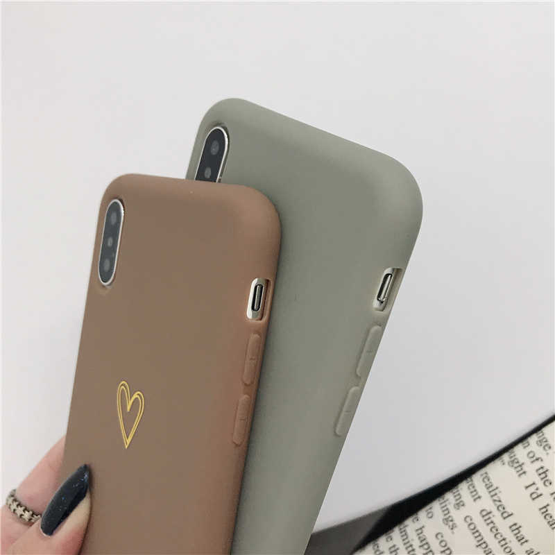 Lovecom Plating Jantung untuk iPhone 11 Pro Max XR X Max 6 6S 7 7 Plus X permen Warna Sederhana Silikon Lembut TPU Back Cover