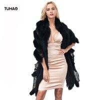 TUHAO Lace Patchwork Faux Fur Shawl For Ladies 2018 Autumn Winter Cover Ups Women Wihte Fur Coats Bohemian Cardigans TT0859