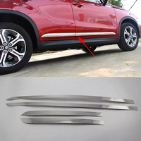 Car Styling 4pcs Set Stainless Steel Car Body Trim Decoration Chrome Whole Window Cover Protection For