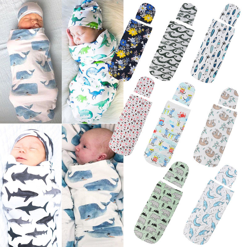 Citgeett Newborn Baby Cute Swaddle Blanket Sleeping Swaddle Muslin Wrap+Hat Anime 2pcs Casual Accessories SS
