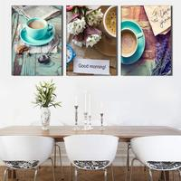 Giveaways Wall Sticker 3 PanelPrinted Stil Life Coffee Painting Canvas Art Picture Cuadros Decoracion Kitchen Paintings