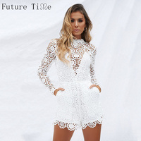 Future Time Sexy Hollow Out Lace Bodysuit Women White Deep V Neck Long Sleeve Plain Teddies 2018 Summer Slim Bodysuits N186