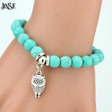 цена WSB018 Vintage Charms Turquoise Beads Owl Elephant Bird Pendant Bracelet Fashion Hand Cross Bracelets Women Fine JewelryPulseras