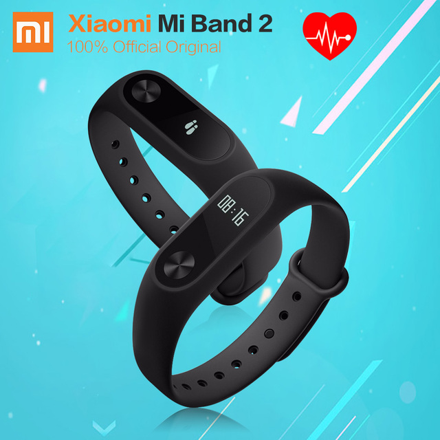 Original Black Xiaomi MiBand 2 Bluetooth 4.0 Fitness Wristband Smart Heart Rate OLED Display 20 Days Battery Xiaomi Mi Band 2
