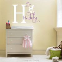Deer Wall Decals Dragonfly Wall Stickers Custom Name Initial Deer Decals Vinyls Nursery Girls Room Decoration