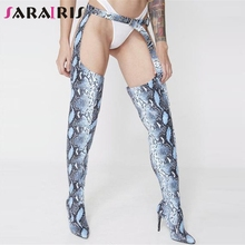 SARAIRIS New Plus Size 48 Thin High Heels Belt Buckle Boots Strap Women Shoes Woman Party Sexy Thigh Over The Knee