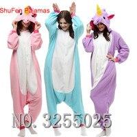 MengShuFen Hot Unisex Flannel Lovers Couples Animal Pajamas One Piece Cartoon Cosplay Pajama Costume Adult Unicorn