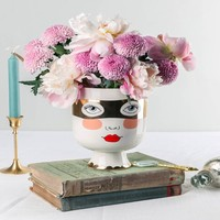 Face Ceramic Vase Nordic Fashion Vase Beauty Face Cylindrical Jardiniere for Flowers Floral Art Accessories Lovely Desktop Vase