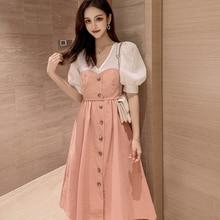Летняя женская одежда с v-образным вырезом, пышные рукава, поддельные платья из двух частей, талия, сплайсинг в длинном разрезе, а-образное платье, чтобы отправить пояс