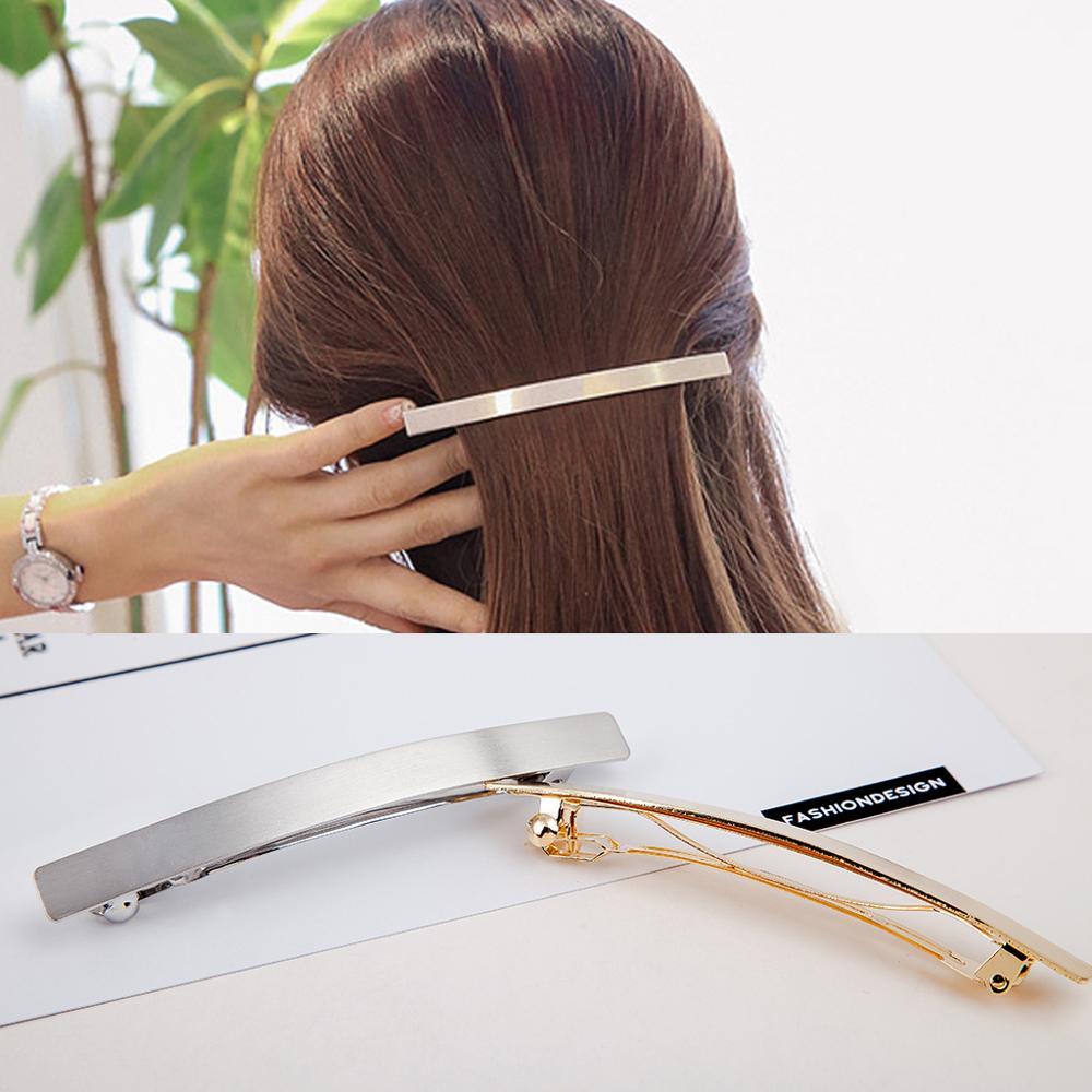 Women Girl Fashion Spring Clip Hairpin Hair Clip Accessories Headdress Hairclip Gold/Silver Spring Clip Long Portable Headdress