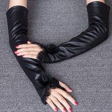Fashion Black Sheepskin Gloves Female 40cm Long Arm Warmers Women Semi-Fingers Genuine Leather Fingerless Mittens