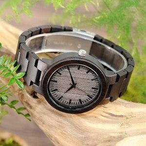 Image 5 - BOBO BIRD reloj de madera de ébano negro para hombre, con correa de madera, analógico, de cuarzo, esfera de lujo, logotipo personalizado