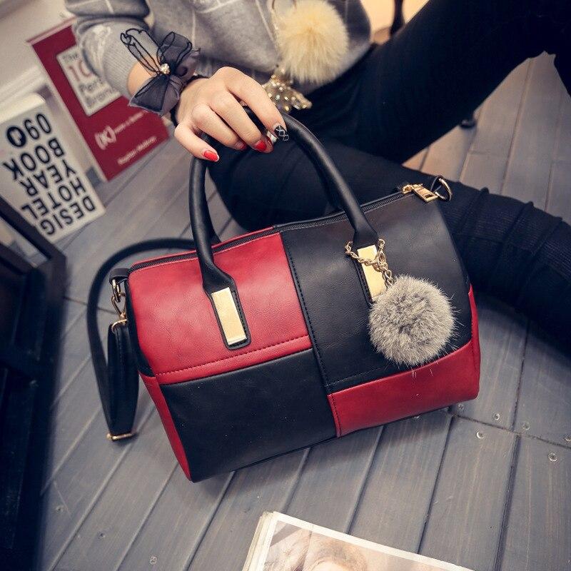 2018 New Fashion Women's Hangbags Ms. Messenger bag Ladies' <font><b>handbag</b></font> Hairball Shoulder Bag for Girls <font><b>Parker</b></font> women's party wallets
