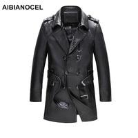 AIBIANOCEL брендовая натуральная кожаная куртка для мужчин Весенняя мода овчины кожаные куртки черные длинные стиль jaquetas em couro masculina