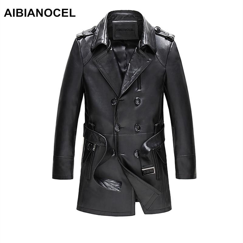 AIBIANOCEL Brand Real Leather Jacket Men Spring Fashion Sheepskin Leather Jackets Black Long Style jaquetas em couro masculina