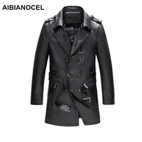 AIBIANOCEL Brand Real Leather Jacket Men Spring Fashion Sheepskin Leather Jackets Black Long Style Jaquetas Em