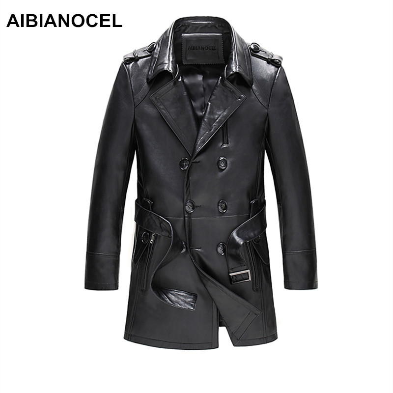 Aibianocel marca jaqueta de couro real dos homens primavera moda couro de carneiro jaquetas preto estilo longo jaquetas em couro masculino