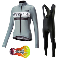 2019 New Morvelo women long sleeve cycling jersey suit pro team bike clothing mujer ropa ciclismo hombre 16D gel pad maillot I14