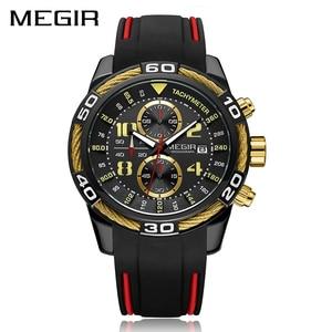 Image 2 - Megir Chronograaf Sport Mannen Horloge Creatieve Siliconen Militaire Horloges Klok Mannen Relogio Masculino Quartz Horloge Uur
