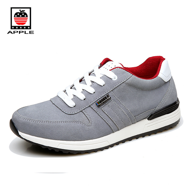Apple Hot Sale Men's Suede Leather Running Shoes Classics Male Split Cow Leather Training Sports Shoes Popular Sneakers AP-1529