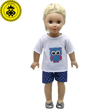 18 inch Girl Doll Clothes Owl White t-shirt + Pants Skirt Suit fit 18 inch Girl Doll Accessories Christmas Gift 570(China)