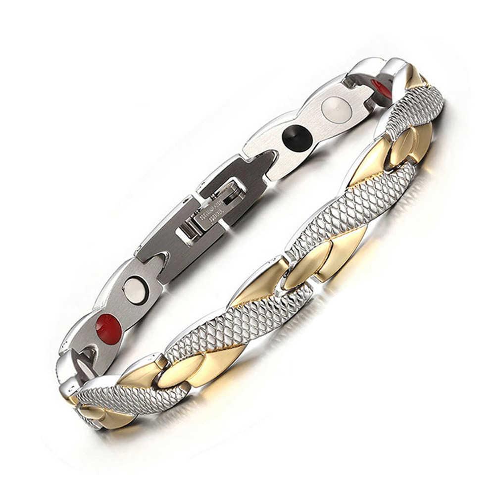 Витой безопасный магнитный браслет для Для женщин Мощность терапевтические магнитики магнетит мужские браслеты оздоравливающие ювелирные изделия из нержавеющей стали