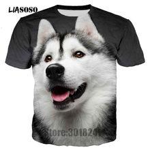c68da5381d5 Liasoso Лето Для мужчин футболка милые Животные Сибирский хаски Футболки 3D  Футболка с принтом пуловер Футболки