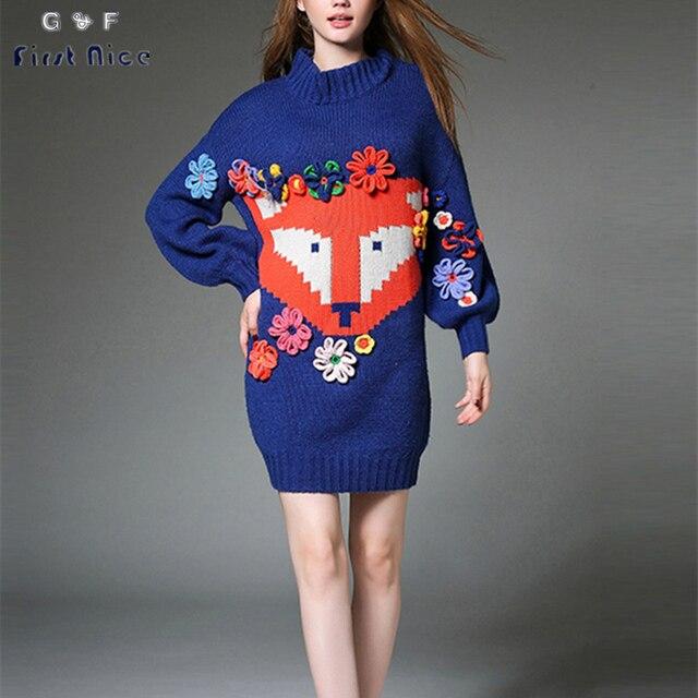 Женщины Длинный Свитер 2017 Весна Новая Мода 3D Flower Аппликации О-Образным Вырезом Трикотажных Пуловеров Фокс Pattern Европейский Повседневная Женский Топы