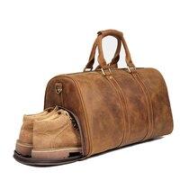 Винтаж пояса из натуральной кожи спортивная сумка обувь отсек Weekender чемодан путешествия сумки на плечо унисекс воловьей