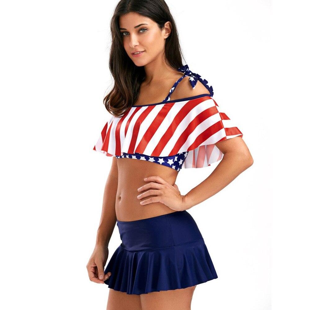 98fd2e47e4e1 2019 American Flag Printed Ladies Crop Tops 2018 Summer Stars ...