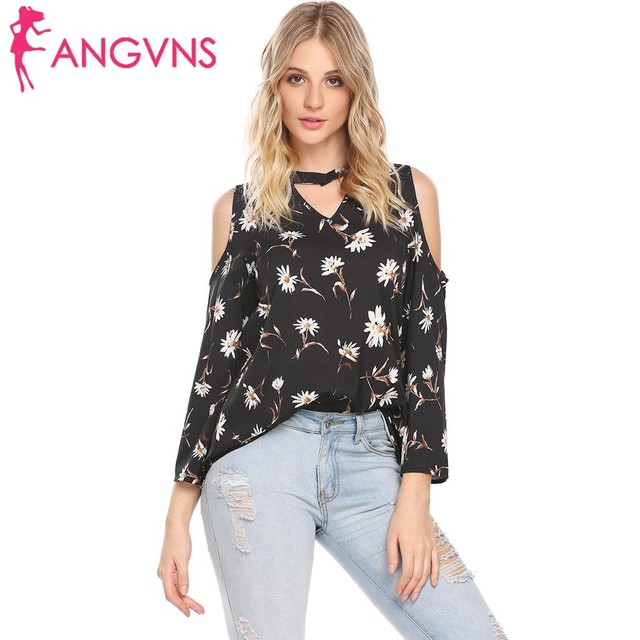 2a6d588b85f ANGVNS Women Cold Shoulder Floral Casual Blouse Shirt 2018 New Long Sleeve  Cut Out Loose Shirts Blusas Spring Summer Tops