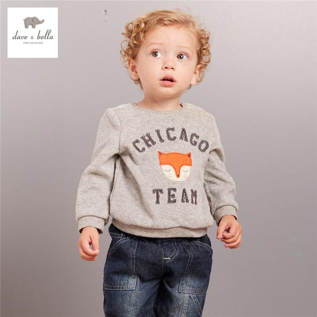 DB3830 dave bella outono bebê menino raposa impresso menino algodão t shirt t-shirt dos meninos de roupas infantis toddle animais encabeça crianças t-shirt