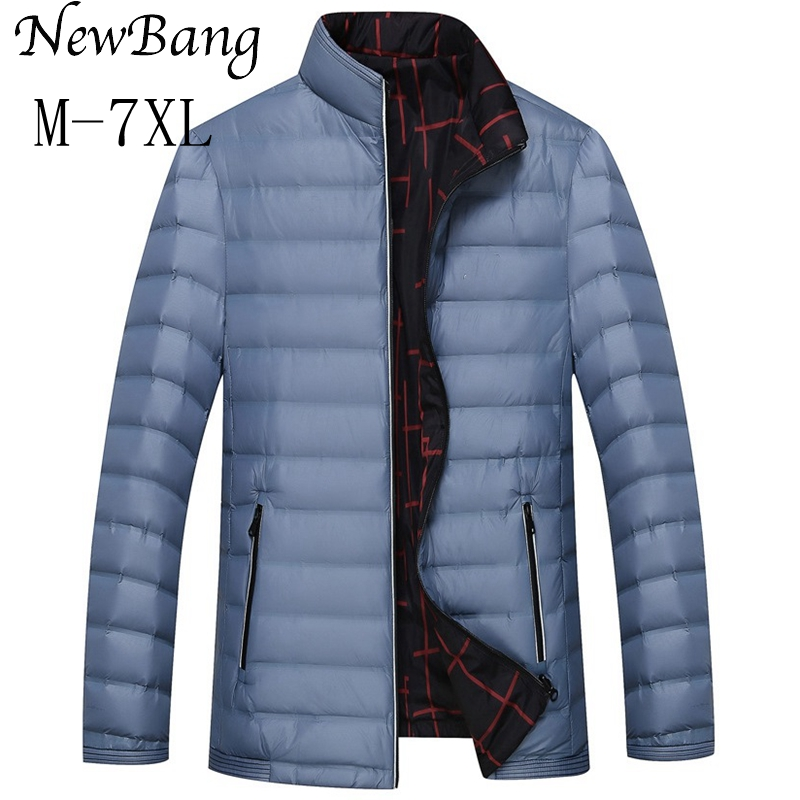 Cathyqian's Online Store Plus Size 6XL 7XL Men Ultralight Down Jacket Double Side Feather Reversible Parka With Carry Bag Outwear