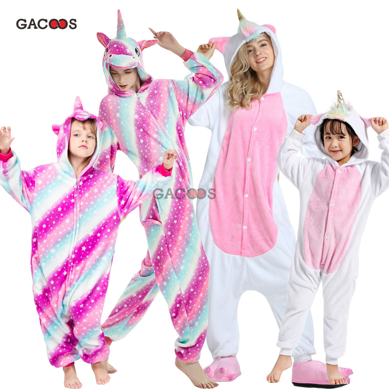Winter Baby Kids   Pajamas     Set   Kigurumi Unicorn Animal Onesies Adults Flannel Pyjamas Women Sleepwear Boys Girls Halloween Costume