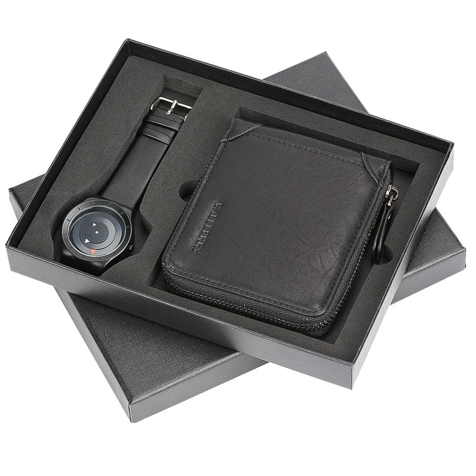 Swirl Arrow Design Quartz Wrist Watch Christmas Gifts Casual Malfunction Hasp Wallet for Boyfriend Dad Colar Masculino Gift Set