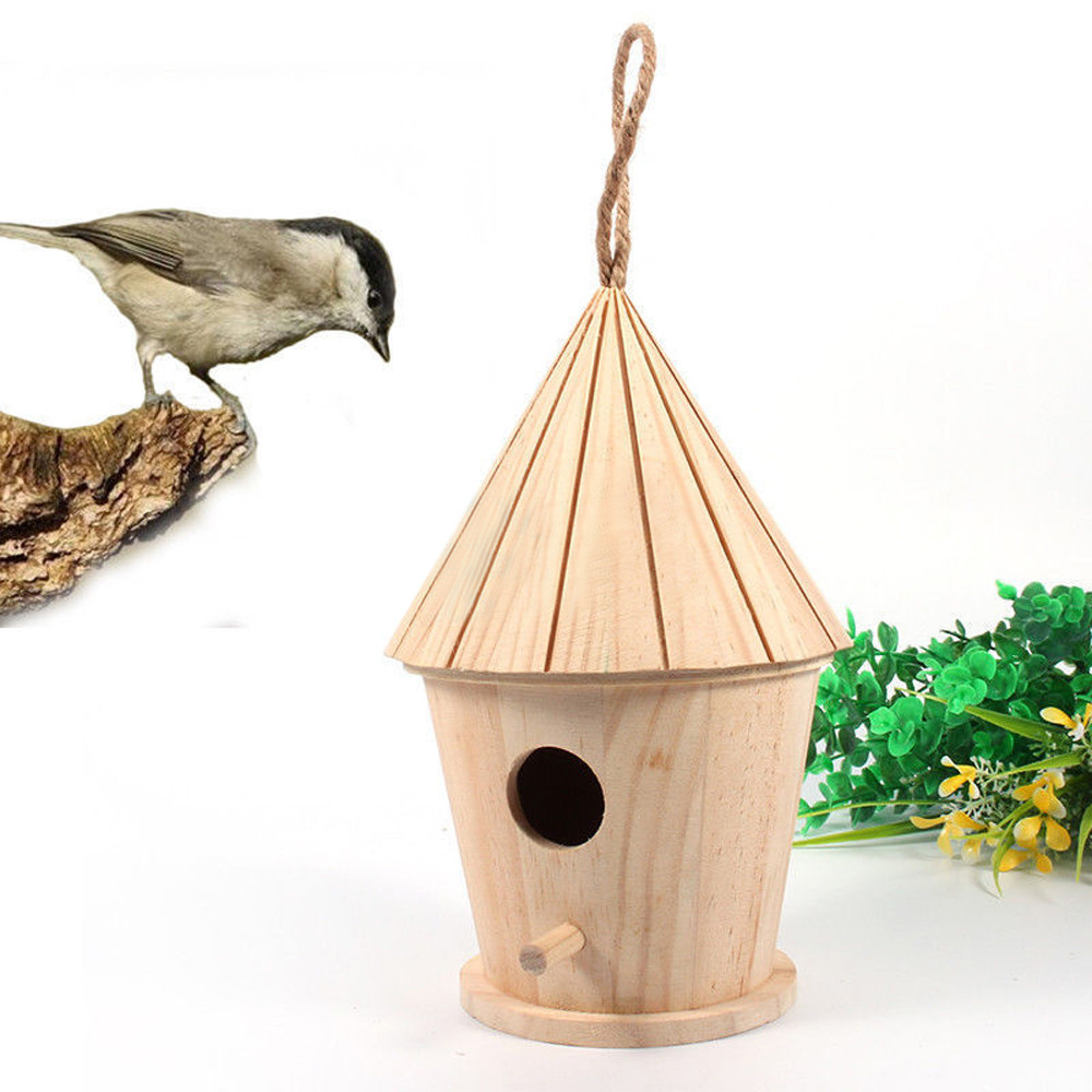 diy wooden bird house hanging nest nesting box for home garden decoration outdoors roof wooden. Black Bedroom Furniture Sets. Home Design Ideas